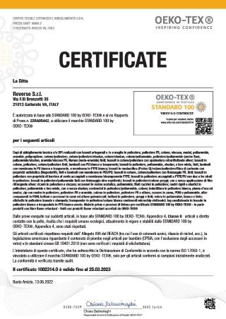 Certificato OEOKO TEX